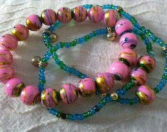 set of 3  colourful elastic bracelets / free combined shipping