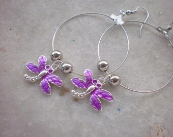 Hoops  Purple Dragonflies /ready to ship