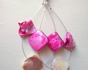 summer dangle earrings / gift for her / handmade / hoop earrings / ready to ship