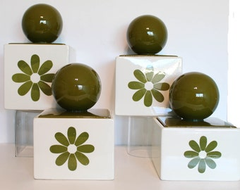 1970s  Holiday Designs  Sebring Ohio Amazing pop art olive green flower with  large round ball lids kitchen canisters