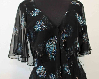 1970s Jeri Modes New York Stunning  Black Sheer Wrap Front /Butterfly Sleeves Dress  Size 32""