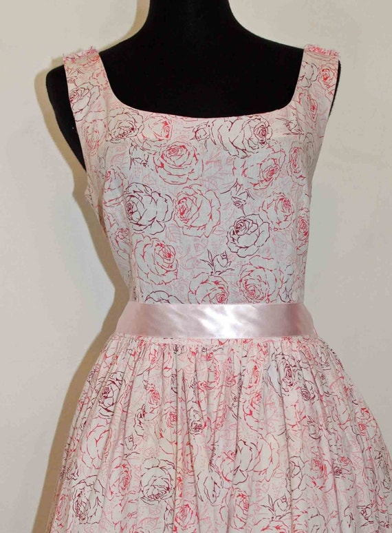 "60s Petal Pink Rose Sleeveless Party Dress Size 38"""