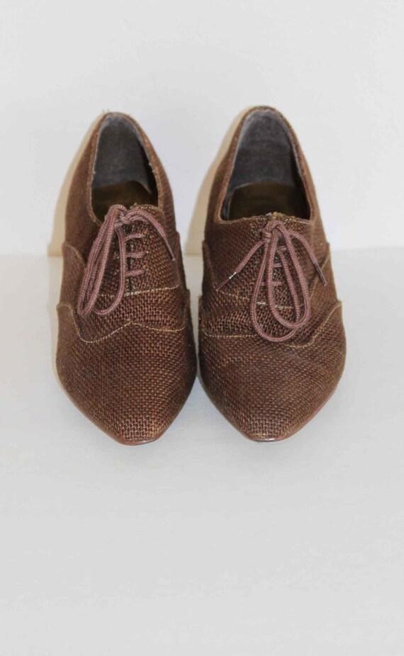 """1980s Vintage Brown Wool Tweed Oxford Size 8 1/2"""""""