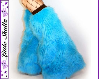 Fur Leg Warmers UV Neon Blue Fluffies Furry Boot Covers Rave Fuzzy