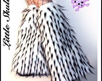 Rave LegWarmers Spiked UV White Black Furry Boot Covers Leg Warmers Go Go Fluffies