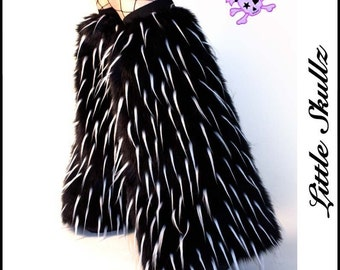 Fluffies Black with UV White Spikes Furry Boot Covers Fuzzy Leg Warmers Rave
