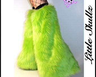 UV Lime Green Furry Leg Warmers Rave Fur Boot Covers