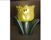 Handpainted Yellow Ceramic Tulip Flameless Light