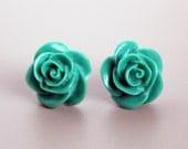 Rose Earrings, Emerald Green Handmade Resin Cabochons on Hypoallergenic Titanium Posts/Studs