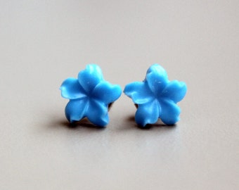Jasmine Flower Earrings, Cornflower Blue on Hypoallergenic Titanium Posts/Studs