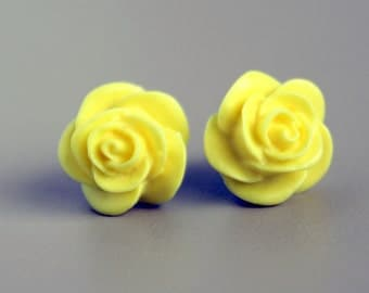 Titanium Earrings, Rose Earrings, Sunny Yellow Rose Earrings on Hypoallergenic Titanium Posts/Studs