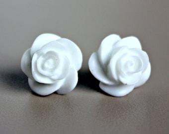 Rose Earrings, True White Resin on Hypoallergenic Titanium Posts