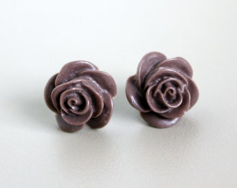 Mocha Brown Resin Rose Earrings with Hypoallergenic Titanium Posts