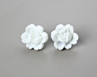 Rosette Flower Earrings, Ivory White Handmade Resin Cabochons with Hypoallergenic Titanium Posts/Studs