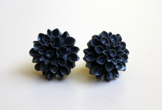 Dark Charcoal Mum Resin Cabochon Flower Earrings on Hypoallergenic Titanium Posts/Studs