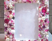 Mosaic Jeweled Picture Frame - Pink