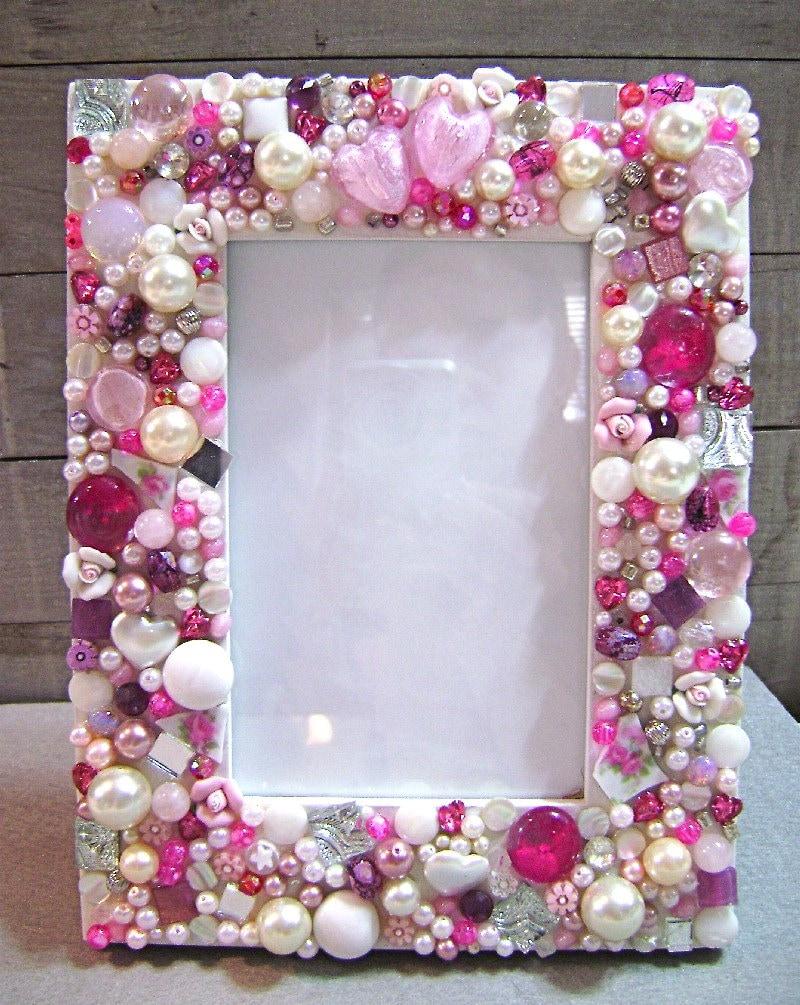 Mosaic Jeweled Picture Frame Pink By 2ndtimearoundmosaics