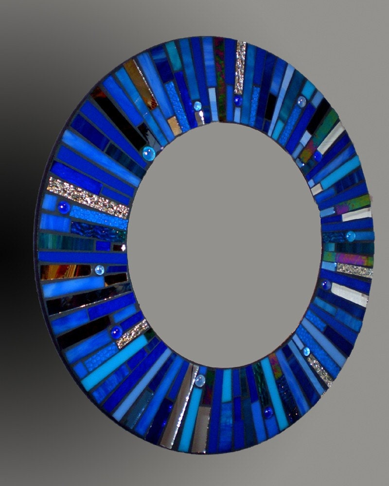Mosaic Round Blue Stained Glass Mirror By 2ndtimearoundmosaics