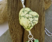 Howling at the Moon... Chartreuse Howlite, Jade and Sterling Silver Necklace