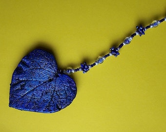 Ornament Blue Heart with Glass Beads/Art/Home and Garden Decor~~Free Shipping in US