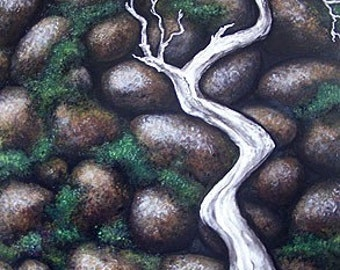 Stone Wall/Surreal/Trompe-l'œil/Spirit/ Painting, Art. Home Decor. Nature,