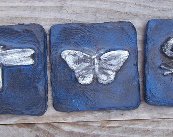 Dragonfly, Butterfly & Frog Tile Trio