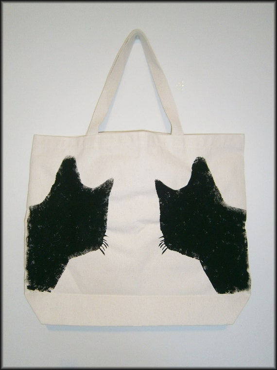 Durable canvas tote bag-hand stenciled with black cats silhouettes