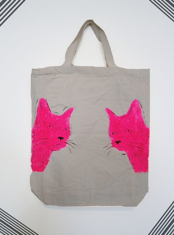 Hand stenciled tote bag - Cats print in Neon Pink and Black