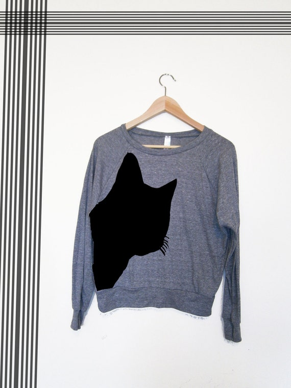 SALE-Women's Gray pullover- Black cat print- Size L