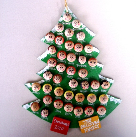 """Personalized Family Christmas Ornament Up to 40 Faces 7""""x9"""""""