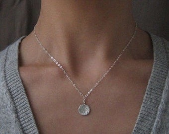 SALE Tiny Moon Medallion Sterling Silver Necklace - enter coupon code SPRINGSALE at checkout to receive 20% off