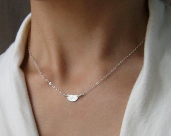 Tiny Half Moon Sterling Silver Necklace