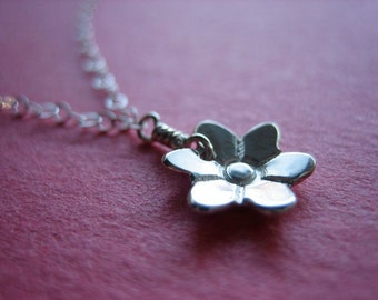 Tiny Bloom Sterling Silver Necklace