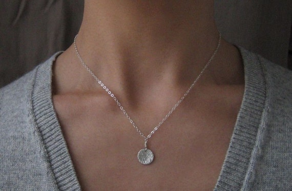 Tiny Moon Medallion Sterling Silver Necklace