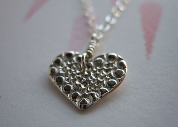 Small Mosaic Heart Sterling Silver Necklace