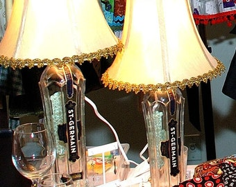 upcycled bottle lamp with decorative shade