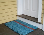 Hand woven Maine Made Doormat  (blue red blue)