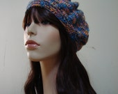 Hand Knit Slouchy Beret Beautiful Italian Wool,Blue and Coral,Gifts for her
