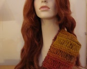 "Hand Knit Scarf-""Autumn Hues"" Beautiful airy  open-work design, Light as a feather,Gifts for her"
