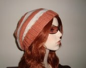 Hand Knit Slouchy Beret in Cream and Burnt Orange Wool, Unisex Design! Gifts for her