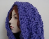 Hand Knit  Infinity Scarf/ Hood- Super Chunky, Dramatic Piece- Juicy Plum Wool, gifts for women