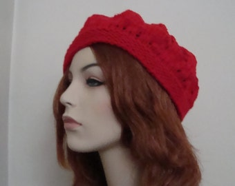 """Hand Knit Hat- Shouchy Beret, Red,""""Strawberry Fields"""" lace open work and """"stem"""" on top,Gifts for her"""