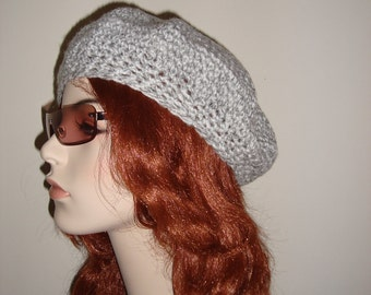 Hand Crocheted Beret, Ash Tweed, Wear with everything, Classic look for a Collegiate, gifts for her