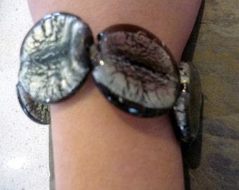 Black and Grey Bracelet, Chunky Round Beads Bracelet, Glass Beads Bracelet, Grey and Black Bracelet, Elastic Bracelet, Elegant Bracelet.