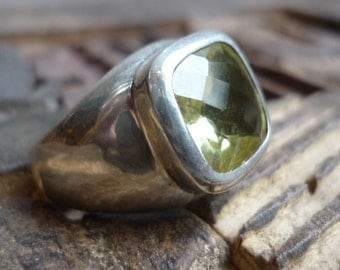 Sterling Silver and Quartz Ring, Chunky Silver Ring, Lemon Quartz Ring, Lime Quartz Stone, Square Lemon Stone, Square Silver & Stone Ring.