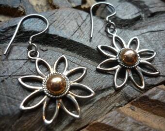 Sterling Silver Earrings, Flower Earrings, Silver Flowers Earrings, Dangle Flower, Silver and Gold Earrings, Rose Gold and Silver Earrings.