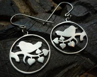 Sterling Silver Earrings, Bird Earrings, Bird on a Branch, Dangle Silver Earrings, Nature Earrings, Shiny Silver Earrings, Round Earrings.