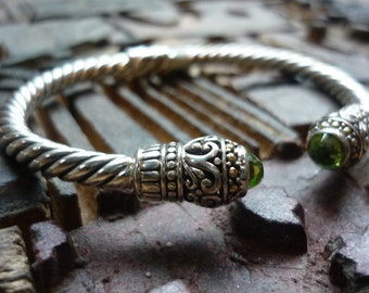 Sterling Silver Cuff, Silver Rope Cuff, Silver Bracelet with Green Peridot Stone, Twisted Cuff, Everyday Silver Bracelet, Ethnic Silver Cuff