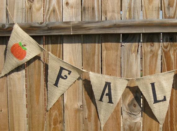 FALL Banner, Fall Burlap Banner, Fall Bunting, Pumpkin Banner, Autumn Banner, Fall Garland, Fall Decor, Fall Decoration, Autumn Decoration