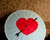 Large White Parasol or Umbrella with Red heart for Weddings